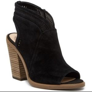 Vince Camuto open toe booties worn black suede